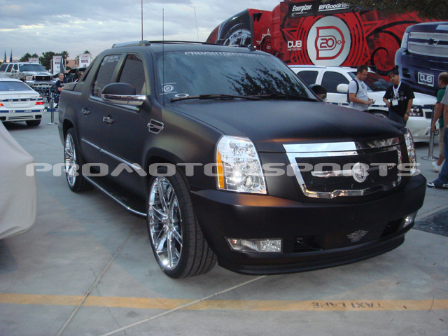 ProMotorsports Matte black Cadillac EXT in the DUB display